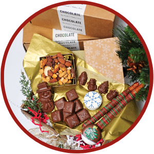 Small box of handmade chocolates to ship friends and family during the Christmas 2020 season. The chocolates are handmade in eastern Iowa.