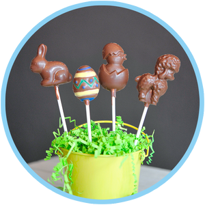 Easter egg chocolate lollipops by Kalona Chocolates. Hand decorated and made for Easter specials in Kalona, Iowa