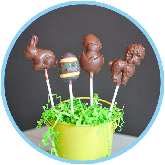 Easter chocolate lollipops hand molded in small batches for kids!