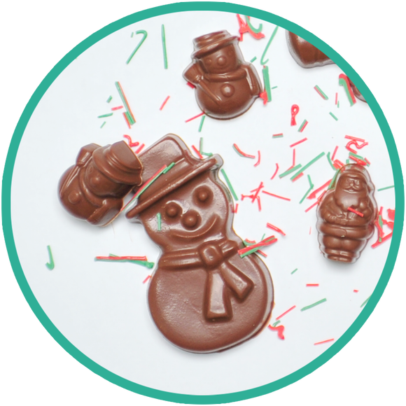 Molded chocolate snowmen - handmade in Kalona, Iowa.