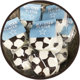 Oreo cookies covered in chocolate and hand decorated as soccer balls for sports lovers chocolates