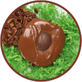 Cow pies are made up of salted pecans, and caramels. They were handmade in Kalona, Iowa.