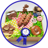 The large state fair box includes several chocolate treats inspired by the fair. This gift box is sure to be a treat for any chocolate lover!