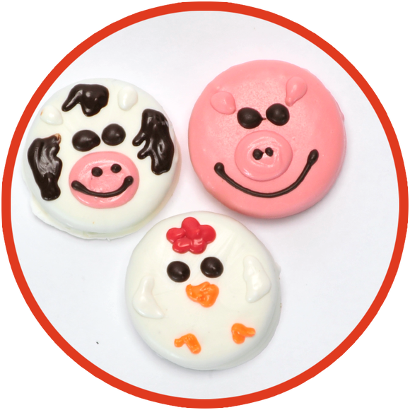Oreos dipped in chocolate and decorated as cows pigs and chickens. It's a kids favorite!