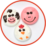 These chocolate covered oreos are decorated as cows, pigs and chickens. They were handmade in Kalona, Iowa and make great gifts for kids!