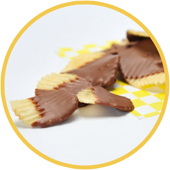 Chocolate covered potato chips are the perfect blend of sweet and salty. They make a unique gift for any chocolate lover!