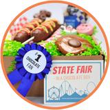 Every chocolate fair box comes with a blue ribbon and state fair fun fact.