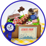 The small state fair box includes yummy chocolate goodies that were inspired by the fair. These chocolates made in Kalona, Iowa are sure to be a treat.
