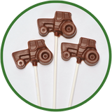 These chocolate shaped tractors were made in Kalona, Iowa.