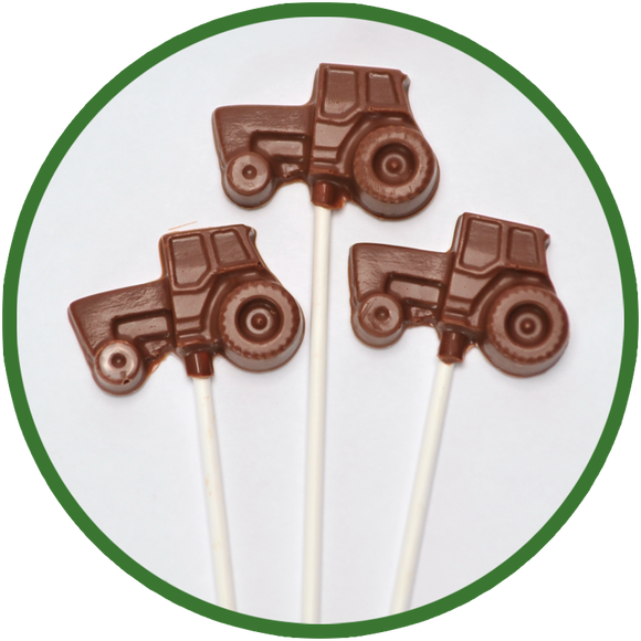 Handmade chocolate tractors created in Kalona Iowa.