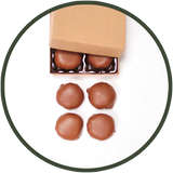 Caramel and pecans covered in quality chocolates are turtles we call tadpoles. A gift collection of 4 tadpoles or turtles.