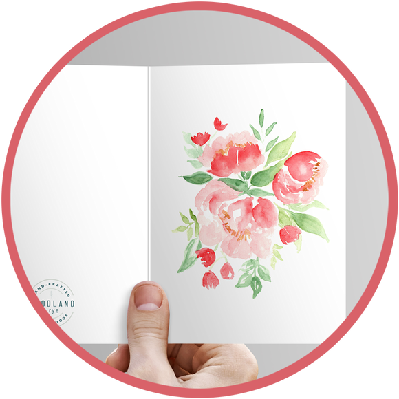 Painted card with valentine roses.