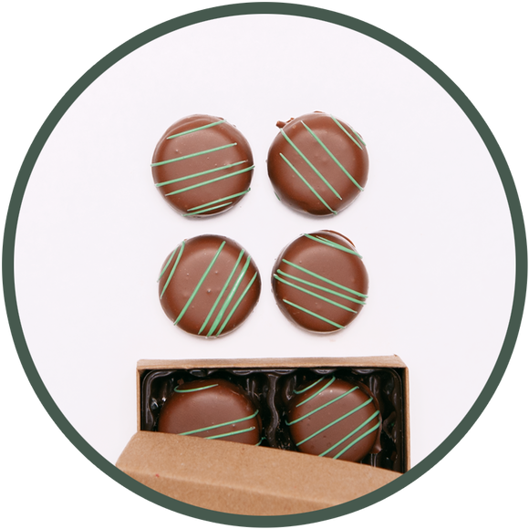 Handmade mint chocolate truffles in a small chocolate box.