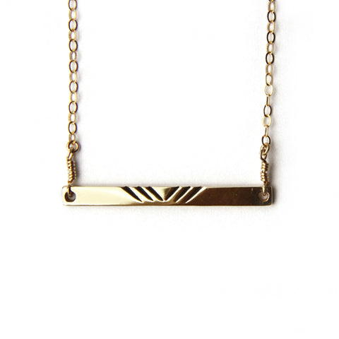 Bar Necklace / Gold Plated Brass