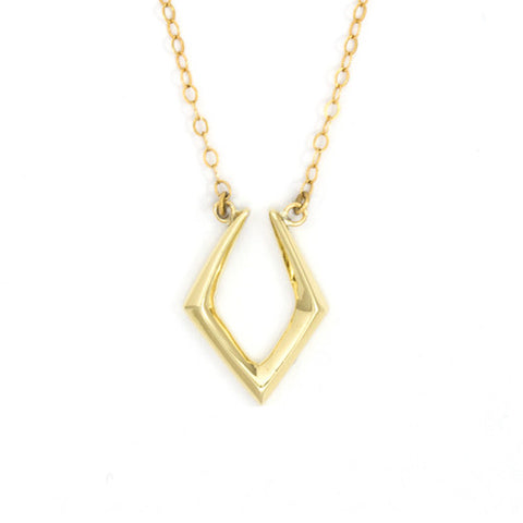 Closed V Necklace / Yellow Bronze