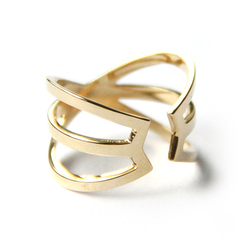 Hexagon Cuff Ring / Gold Plated Yellow Bronze