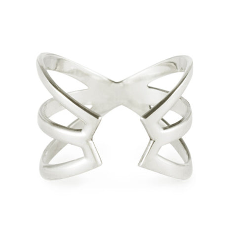 Hexagon Cuff Ring / Sterling Silver