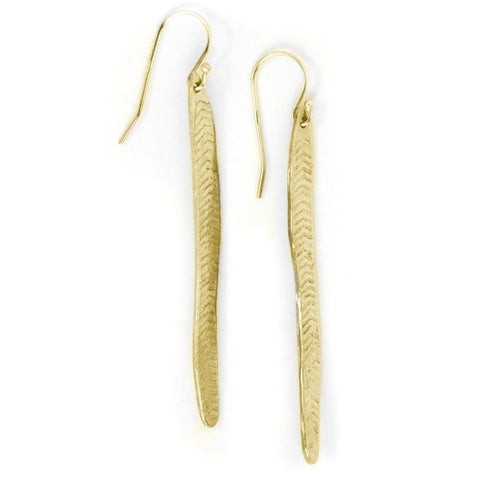 Long Leaf Earrings / Yellow Bronze