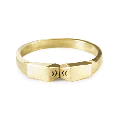 Mini Angle Knuckle Ring / Yellow Bronze