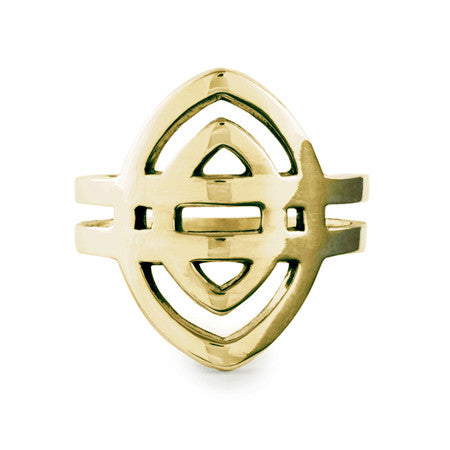 Shield Ring / Gold Plated Yellow Bronze