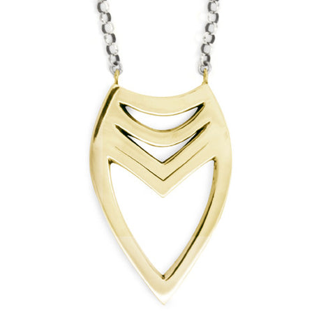 Tribal Heart Necklace / Yellow Bronze