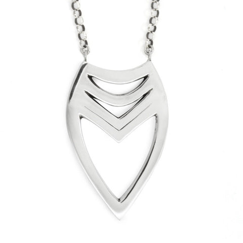 Tribal Heart Necklace / Sterling Silver