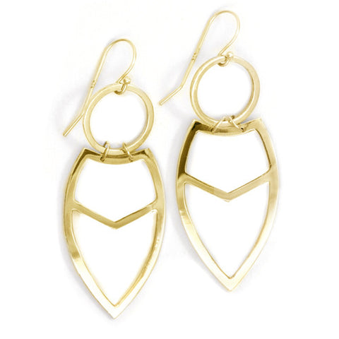 Tribal Leaf Earrings / Yellow Bronze