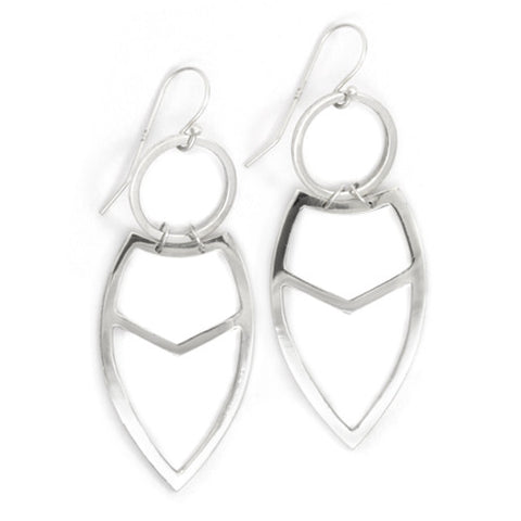 Tribal Leaf Earrings / Sterling Silver