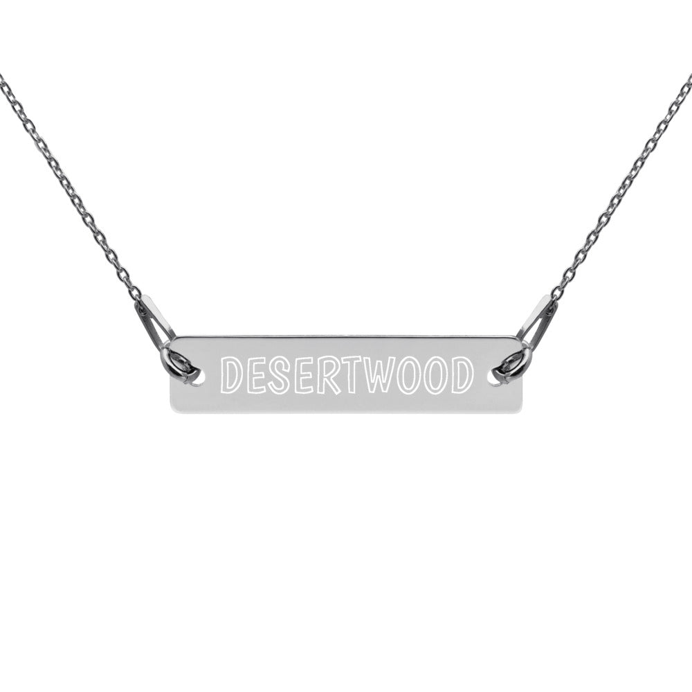 DESERTWOOD Engraved Bar Chain Necklace