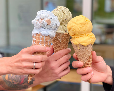 revival ice cream three cones with different popular flavors