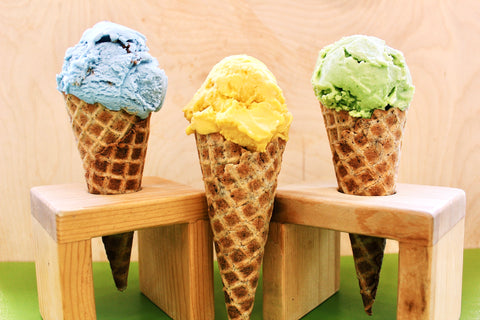 revival ice cream cones with three flavors