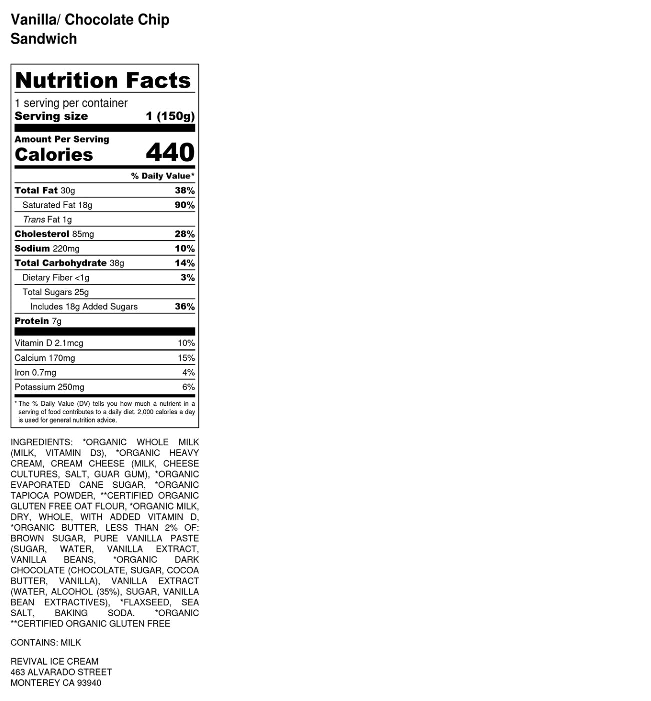 vanilla chocolate chip sandwich nutritional info revival ice cream