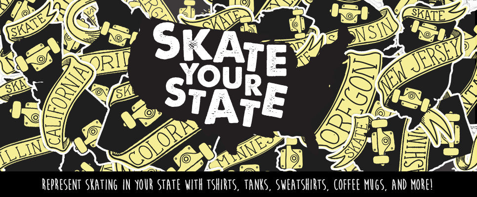 Represent skating in your state with tshirts, tanks, sweatshirts, coffee mugs, and more!
