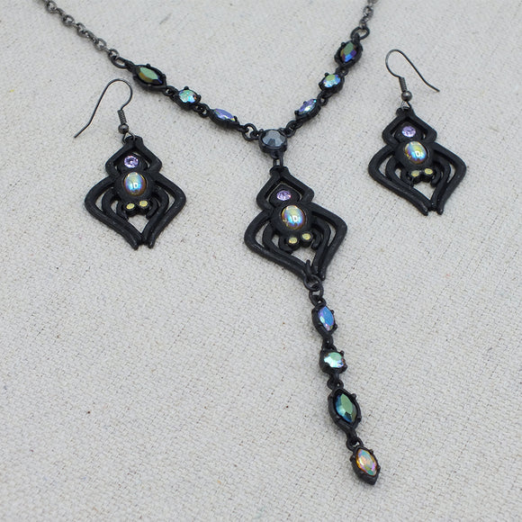 Spider Lariat Necklace and Earrings