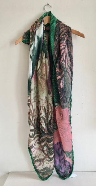 Diana Wilson Frida Kahlo Scarf Emerald and Pink's