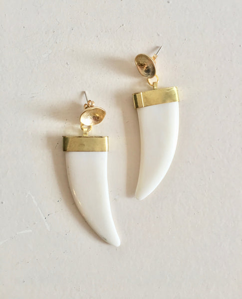 White And Gold Tusk Earrings