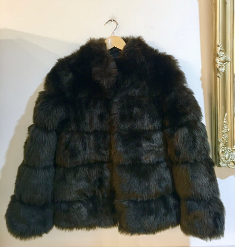 Amo Faux Fur Jacket Chocolate Brown