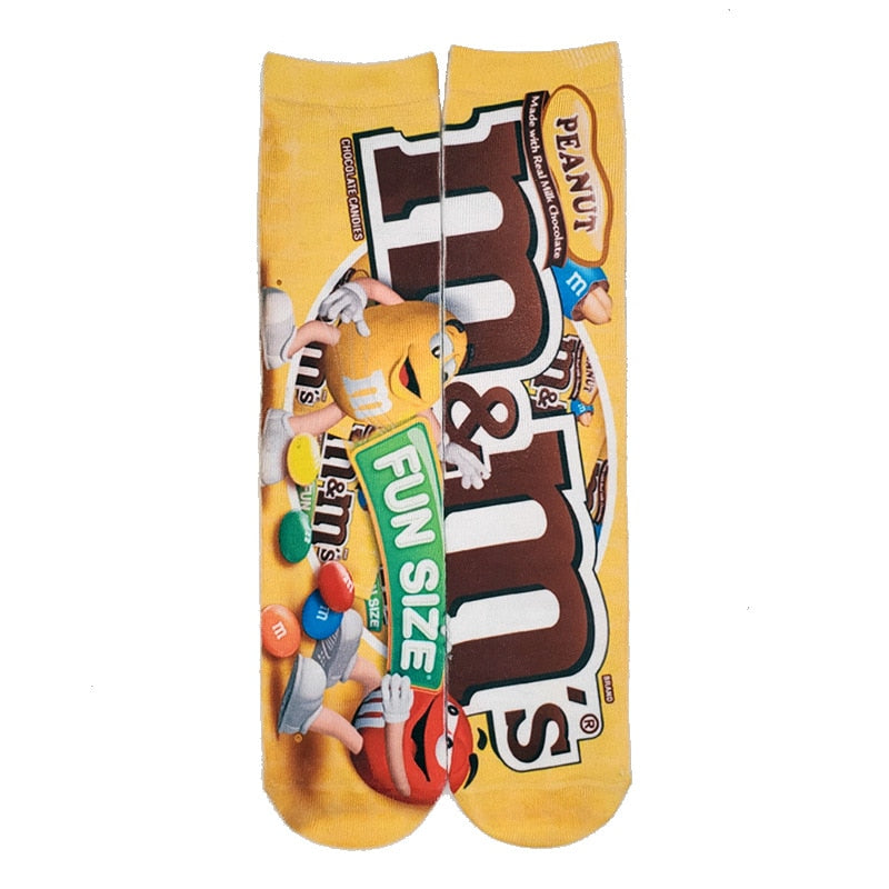 Cotton Socks Art 3D Printing Potato Chips Chocolate Fruit Candy Print Socks Men And Women Harajuku Unisex Funny Socks