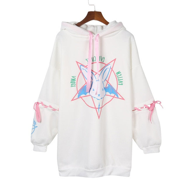 Paris Girl Harajuku Print Lace Up Women Fleeces Hoodies Gothic Punk Oversize Velvet Hooded Sweatshirt Pullover Streetwear