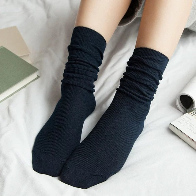 CHAOZHU  Japanese Korea High School Girls High Socks Loose Solid Colors Double Needles Knitting Cotton Long Socks Women