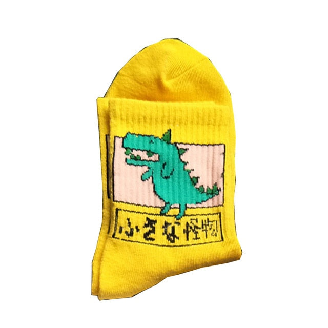 new fashion Harajuku women girls Hip Hop long socks cute Animal dinosaur socks for  ladies  funny japan  cartoon socks