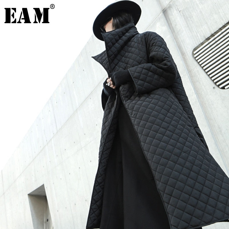[EAM]  Black Big Size Long Cotton-padded Coat Long Sleeve Loose Fit Women Parkas Fashion Tide New Spring Autumn 2020 19A-a319