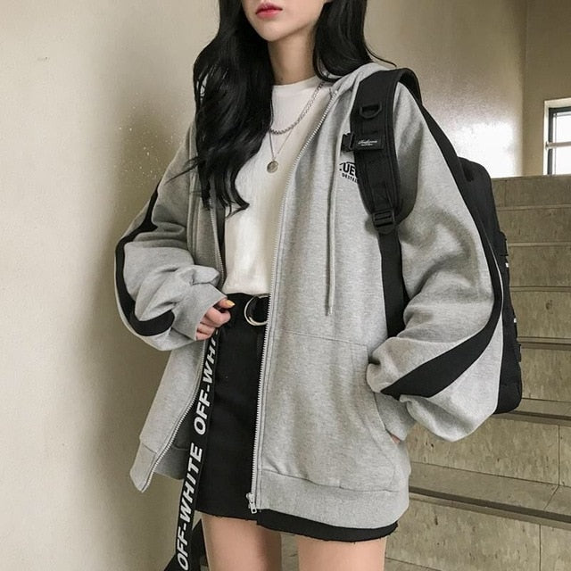 Oversized Hoodies Women Casual Long Sleeve Loose Sweatshirts Female Harajuku Street Boyfriend Style Sweatshirt Fleece Clothes