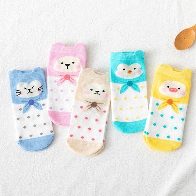 5 Pairs/Lot summer Casual Cute women Socks animal Cartoon Mouse Duck socks Cotton invisible funny socks size 35-41Dropshipping