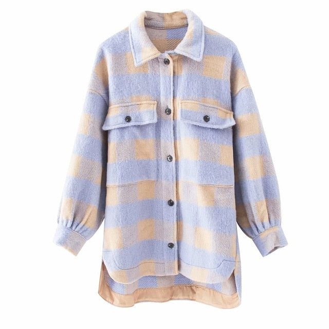 Toppies vintage lattice long jacekt coat women 2020 spring shirt jacket oversized plus size women jacket