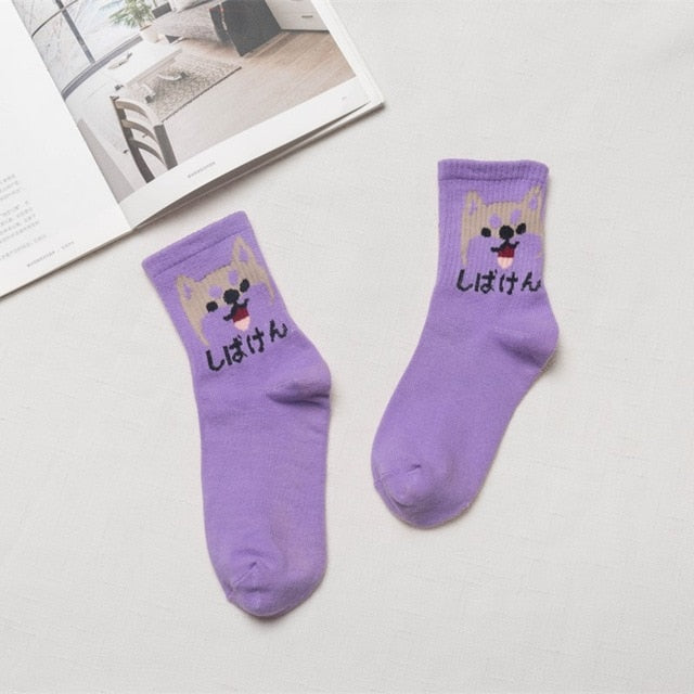 Japanese Kawaii Women Animals Cartoon Tube Socks Cute Egg Rabbit Panther Cotton Long Socks Female and Ladies Pink Milk White Sox