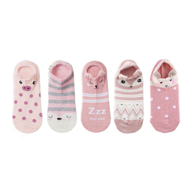 SP&CITY 5pairs Cute Animal Cotton Socks Female Kawaii Cat With Dog Summer Short Sock Slippers Women Casual Soft Funny Boat Socks