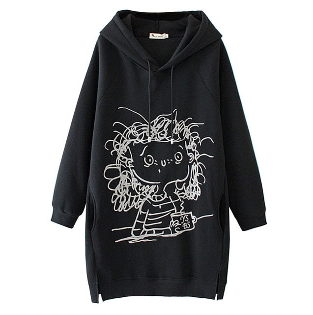 Women Long Hoodie Sweatshirt Pullover Cartoon Print Long Sleeve Splited Pockets Sweatshirt Hoody Pullovers Dress Sudadera Mujer