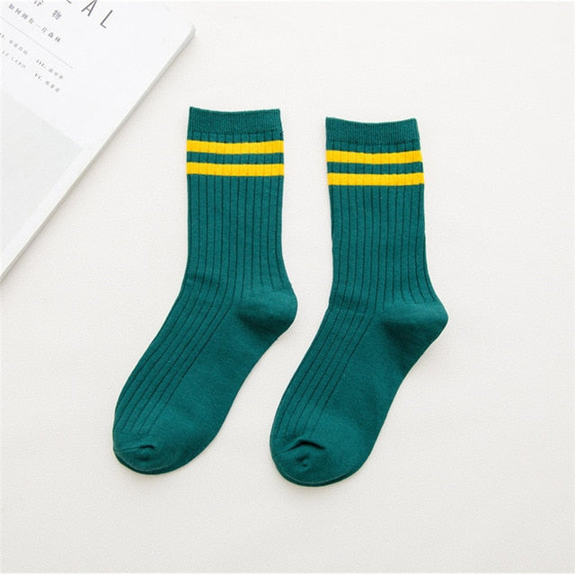 Funny Cute Japanese High School Girls Cotton Loose Striped Crew Socks Colorful Women Sox  Harajuku  Designer Retro Yellow White