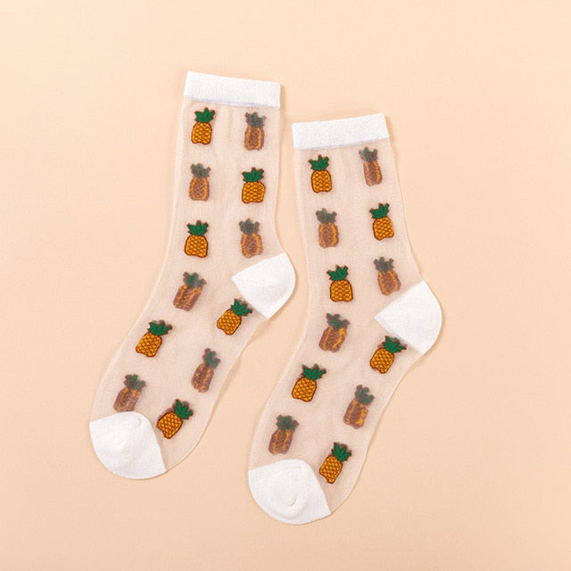 Creative Harajuku New Product Crystal Silk Tide Socks Funny Sunflowers Vines Flowers Happy Women Socks Casual High Quality Sox